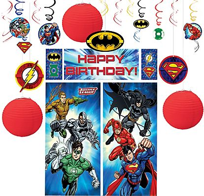 Justice League Decorating Kit Party City Kids Party Supplies Sports Themed Party Kids Birthday Party Supplies