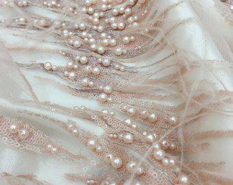 8f6788eb47e05 3D Pearl Sequin Beaded Lace Fabric with Ostrich feather for bridal ...