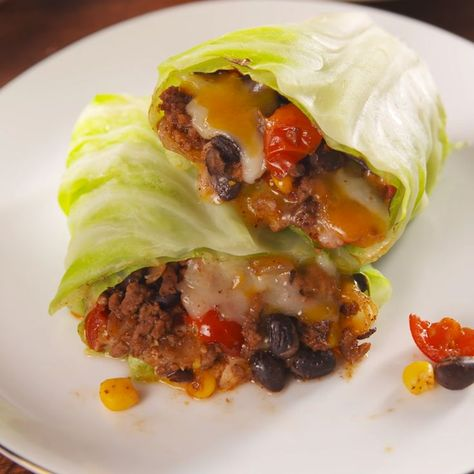 The healthy way to get your Tex-Mex fix. #healthyrecipes #easyrecipes #cabbage #healthyburritos #lowcarb #delish
