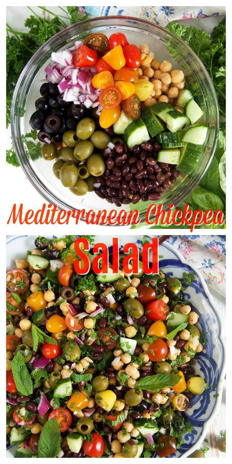 MEDITERRANEAN CHICKPEA SALAD RECIPE Soooo easy to make, Mediterranean Chickpea Salad is fresh and full of vibrant flavors! My copy cat version of Trader Joe's famous Balela Salad recipe, this one has olives for an added briny punch. Mediterranean Chickpea Salad, Mediterranean Diet Recipes, Mediterranean Dishes, Greek Chickpea Salad, Chickpea Salad Recipes, Healthy Salad Recipes, Vegetarian Recipes, Healthy Salads For Dinner, Simple Salad Recipes