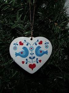 Scandinavian Folk Art Heart With Birds Christmas Ceramic Heart Christmas Ornaments Vinyl Christmas Ornaments Scandinavian Folk Art