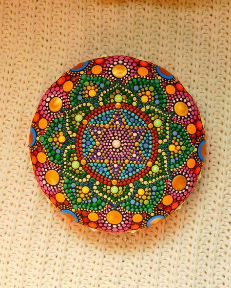 Dotting mandala, Mandala anahata, wood stone, hand painted mandala, original gift, mandala chakra, g