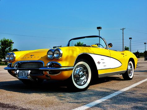 Old Chevy corvette in a rare yellow!