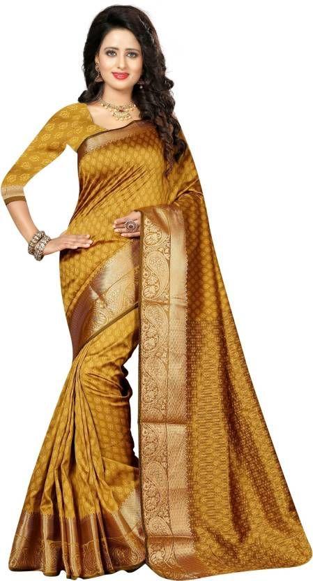 Golden Saree Sari Indian Bollywood Silk Weaving Wedding Bridal Women Party Wear