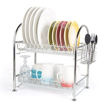 Hoomeet 2 Tier Dish Rack Stainless Steel Dish Drainer With Cutlery Holder 2 Dip Trays Review Dish Racks Cutlery Holder Dip Tray