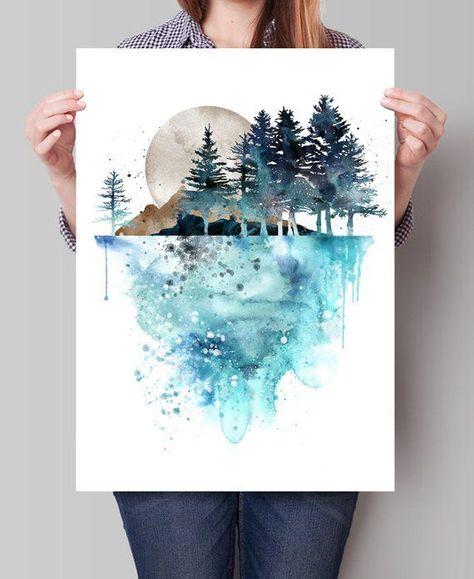 Natur-Wand-Kunst Baum Landschaft Gemälde Druck Aquarell | Etsy
