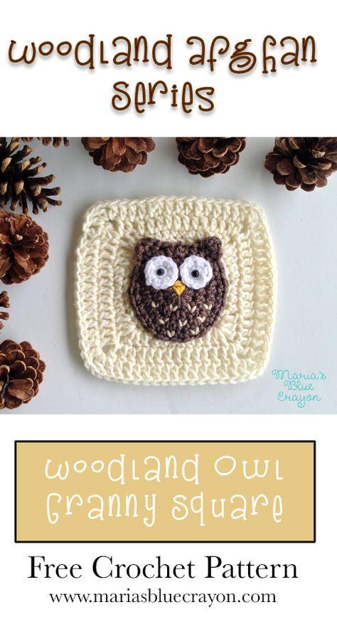 Woodland Owl Granny Square – Woodland Afghan Series – Free Crochet Pattern – Maria's Blue Crayon – Best Amigurumi Crochet Blocks, Granny Square Crochet Pattern, Crochet Squares, Crochet Granny, Crochet Motif, Free Crochet, Owl Crochet Pattern Free, Free Pattern, Crochet Owl Applique