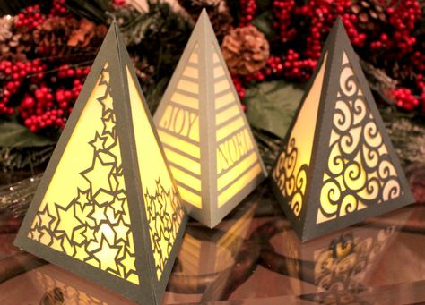 Tree Luminaries cut with the Pazzles Inspiration Vue – pattern available in SVG! Tree Luminaries cut with the Pazzles Inspiration Vue – pattern available in SVG! Tin Can Lanterns, Candle Lanterns, Paper Lanterns, Rustic Christmas, Christmas Time, Xmas, Lampe 3d, Diy And Crafts, Paper Crafts