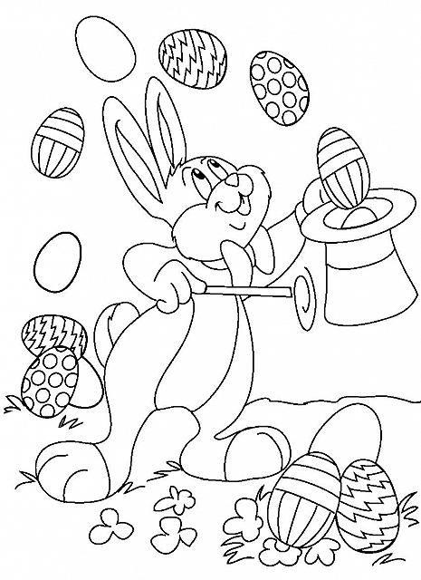 Il Coniglio Mago E Le Uova Di Pasqua Disegno Da Colorare Pagine