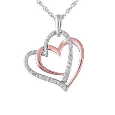 1/4 CT. T.W. Diamond Double Heart Pendant in Sterling Silver and 10K Rose Gold