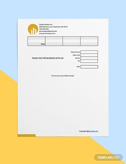 Free Printable Construction Receipt Template Ad Affiliate Printable Free Construction Template Receip In 2020 Receipt Template Free Printables Templates