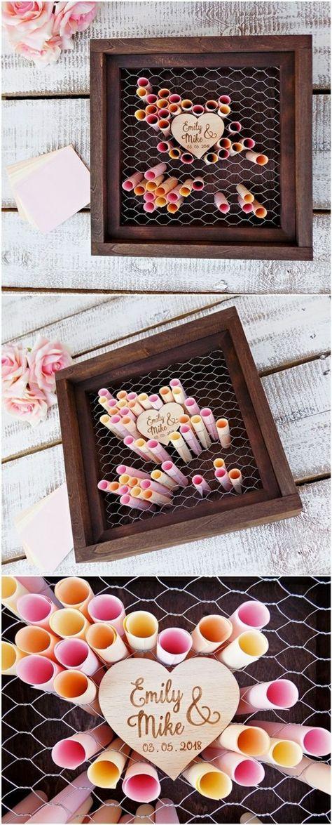 Gästebuch-Idee: Hühnerdraht vor eine Box spannen und dann die gute Wünsche als eingerollte Briefe einstecken lassen. Total hübsch mit dem Holz-Herz in der Mitte! #gästebuch #hochzeit