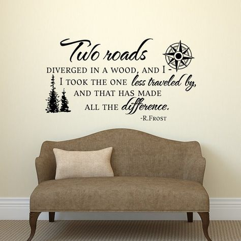 road less traveled robert frost wall decal quote- vinyl wall decals