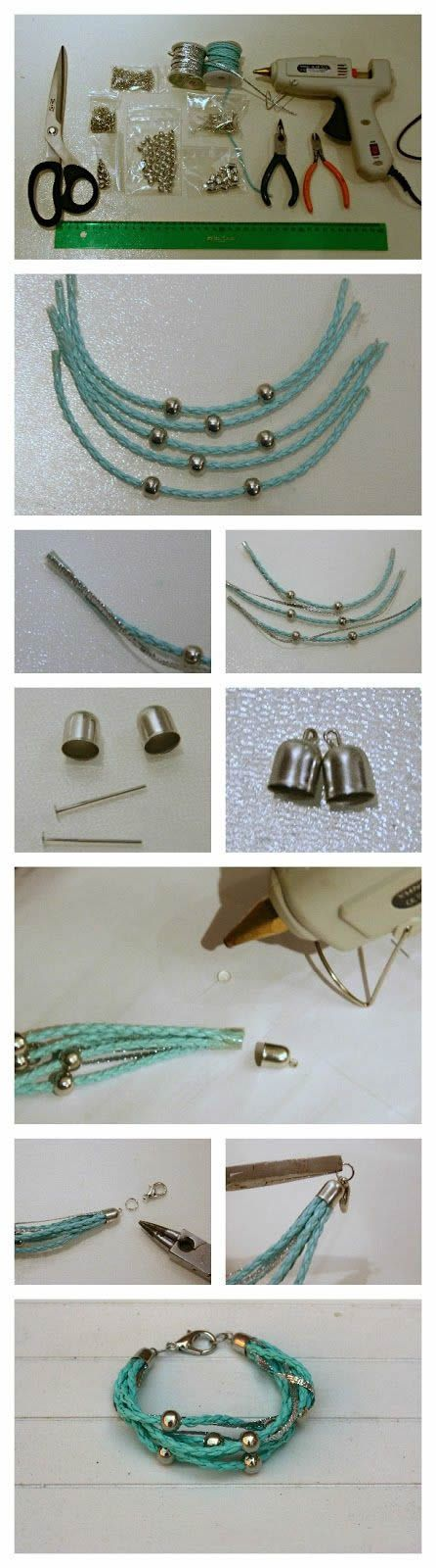 Multi-strand Leather Bracelet DIY, jewelry making http://tech.beads.us/details-Multi-strand-Leather-Bracelet-3063.html