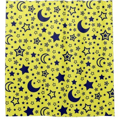 Moon And Stars Shower Curtain Zazzle Com Custom Shower Custom Shower Curtains Curtains