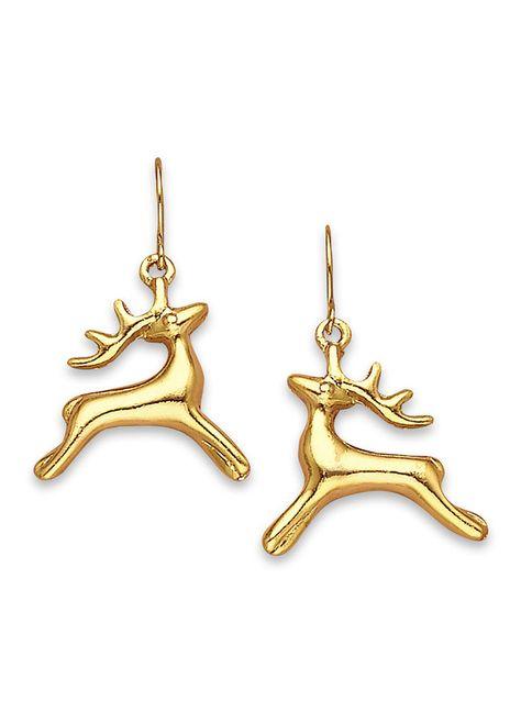 Prancing Reindeer Earrings at http://www.AmeriMark.com. Reindeer leap through the air, ready to pull Santa's sleigh. Goldtone. Pierced.  #reindeerearrings #holidayjewelry #amerimark