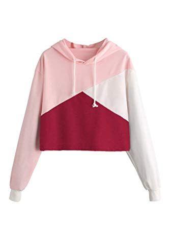 Womens Girls Ladies Long Sleeve Patchwork Hoodies Pullovers Sweatshirt Shirts Blouse Crop Tops