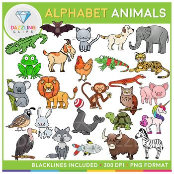 Animals Alphabet Clipart Beginning Sounds Clipart Animal Alphabet Clip Art Beginning Sounds