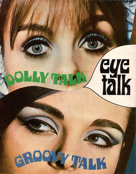 When it comes to eye make-up you need to think and then apply because eyes talk louder than words. The type of make-up that you apply on your eyes can talk loud about the type of person you really are. 1960s Makeup, Retro Makeup, Sixties Makeup, Vintage Makeup Ads, Vintage Makeup Looks, Twiggy Makeup, Beauty Ad, Beauty Makeup, Beauty Products