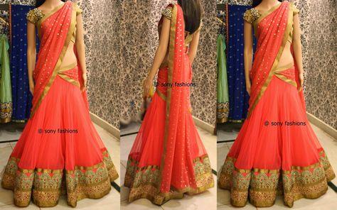 Lovely Peach Half Saree ~ Celebrity Sarees, Designer Sarees, Bridal Sarees, Latest Blouse Designs 2014