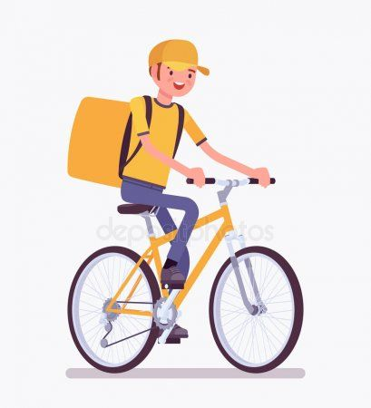 Bicycle Delivery Boy Stock Vector Ad Delivery Bicycle