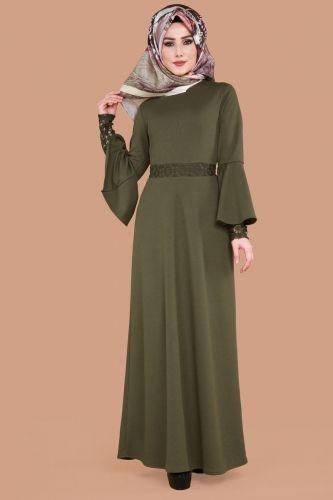 Kolu Dantelli Tesettur Elbise Mdp1097 Haki Pakaian Wanita Model Pakaian Muslim Model Pakaian Hijab