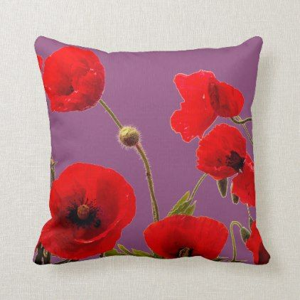 Sugar Plum Pink Red Poppy Flower Floral Purple Throw Pillow Zazzle Com Red Poppies Abstract Throw Pillow Poppy Flower