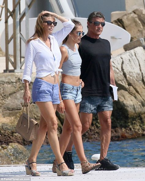 Sylvester Stallone's model daughter Sistine, looks just like her mother Jennifer Flavin, as they step out in matching denim shorts in Antibes