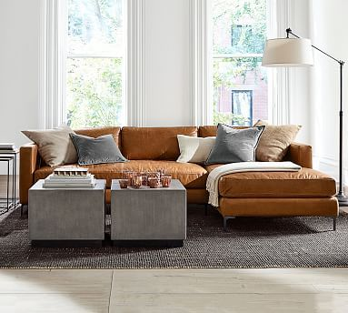 Jake Leather Sofa With Chaise Sectional With Images Leather