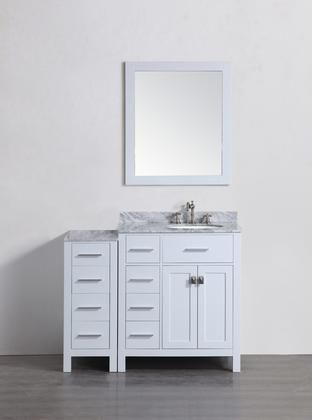 Sb R2104wh1s 43 Right Side Sink Vanity With White Carrara Marble