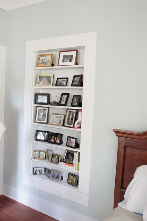 Built in wall shelf between studs (inspiration pic only, no tutorial). Great for small nursery!