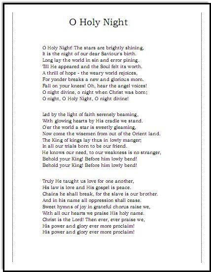 Oh Holy Night Lyrics Music For Music Teacherscom Josh