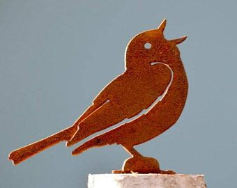 Singing Warbler Metal Bird Sculpture Metal Garden Art Garden Gifts Wild Bird Art Songbird Outdoor Metal Art