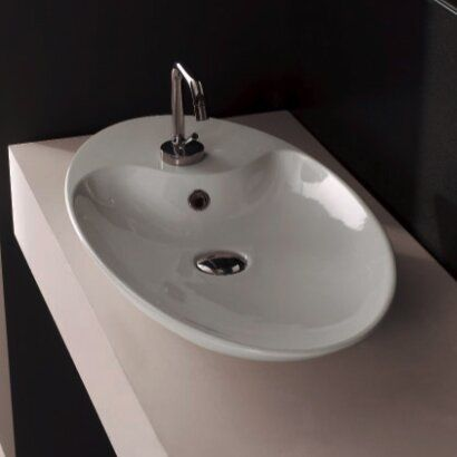 Shape Ceramic Oval Vessel Bathroom Sink With Overflow Contemporary Bathroom Sinks Sink Vessel Sink