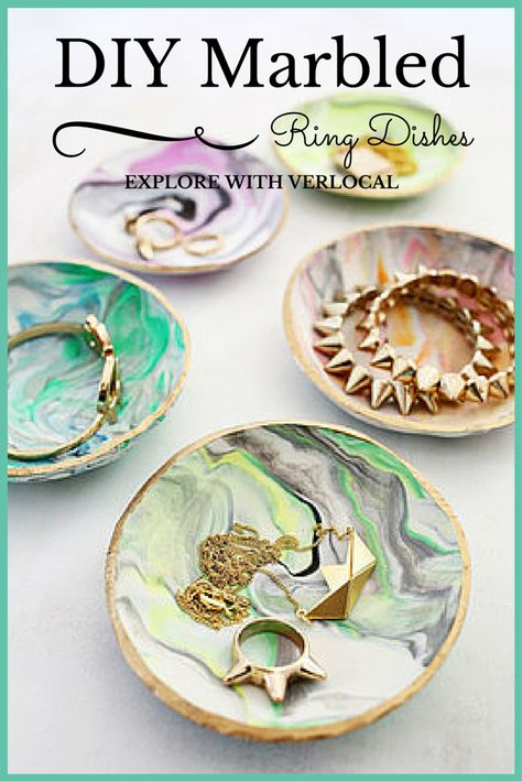 Create your own marbled ring dish with Sculpey clay!