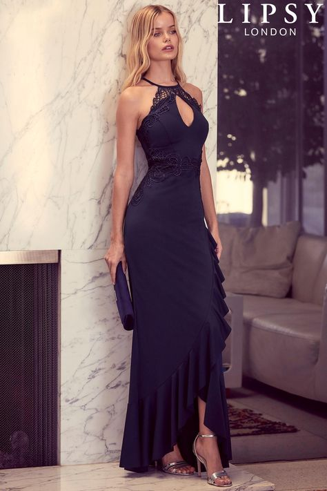 ed5da186a359 Buy Lipsy Halterneck Frill Skirt Maxi Dress from the Next UK online shop