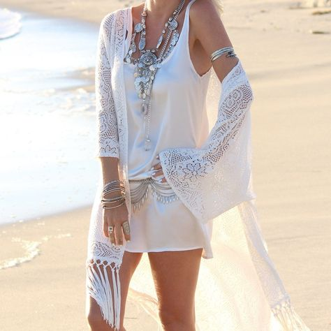 5163352c00c Boho Fringe Lace Kimono Cover Up #Boho #BohoChic @ BMEssentials.com . . .  #summerdress #bohodress #BeachDress #bohochic #c… | Boho Chic by  BMEssentials ...