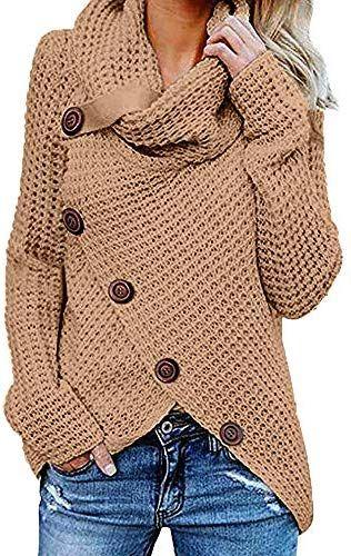 Damen Einfarbige Langarm Rollkragen Strickpullover Pullover Warme L/ässige Elegante Rollkragenpullover Grobstrickpullover