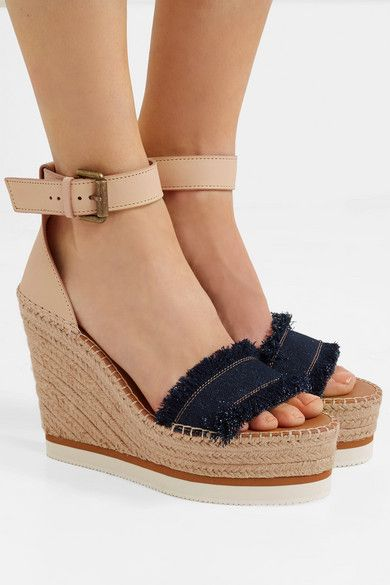 5100d19451f See By Chloé - Leather and denim espadrille wedge sandals | My Style ...