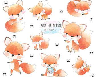 Baby Fox Cute Fox Clip Art Instant Download Png File 300 Dpi Fox Illustration Cute Fox Baby Fox