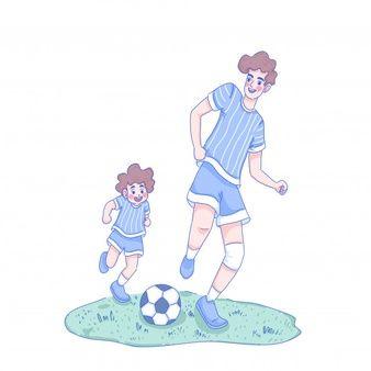 La Ayuda De Los Padres Ensena Al Nino Vector Premium Papa E Hijo Dibujos De Futbol Diseno De Personajes