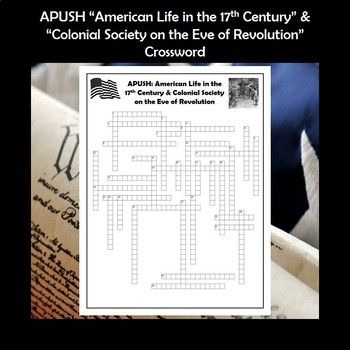 APUSH Life In The 17th Century Colonial Society Vocabulary