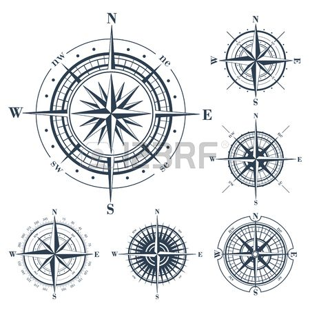 Set of isolated compass roses or windroses isolated on white. Vector illustration. Stock Photo - 51270100