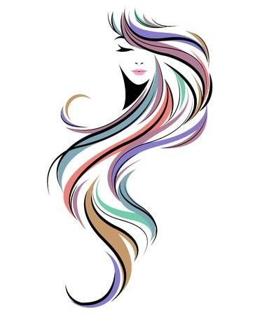 Women Long Hair Style Icon Logo Women Face On White Background In 2020 Hair Salon Art Long Hair Styles Woman Face