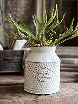 Amazon Com Apsoonsell White Galvanized Bucket Round Rustic Flower Pot Pail Planter Flower Vase Metal Milk Can Handmade Flower Pots Flower Pots Barrel Flowers