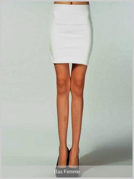Basfemme Charmante Jupe Moulante Courte Mode En Pu Blanc Unicolore
