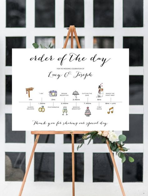 Personalised Wedding Time line/Order of Day Guest information board The Vow Wedding Boutique This listing is for 1 x landscape Wedding Time Line/Event sequence A super cute way to ensure your guests.