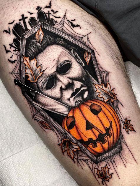 Scary Tattoos, Dad Tattoos, Pin Up Tattoos, Future Tattoos, Body Art Tattoos, Cool Tattoos, Tattoo Ink, Pretty Skull Tattoos, Horror Movie Tattoos