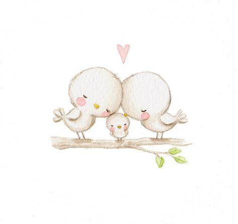 Ilustracion infantil pajaros corazon