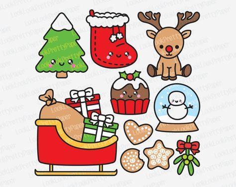 Premium Vector Clipart Navidad De Kawaii Por Looklookprettypaper Pegatinas Kawaii Garabatos De Navidad Dibujos Kawaii